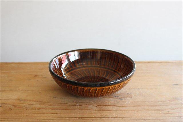 小石原焼 ハケメサラダボウル 飴釉 陶器 ヤマイチ窯 画像2