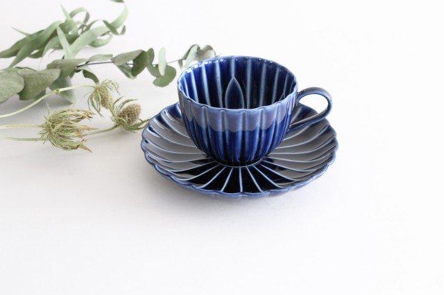 美濃焼 ぎやまんカップ&ソーサー 茄子紺(青) 磁器
