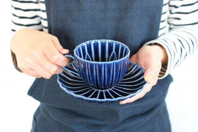 美濃焼 ぎやまんカップ&ソーサー 茄子紺(青) 磁器 画像2