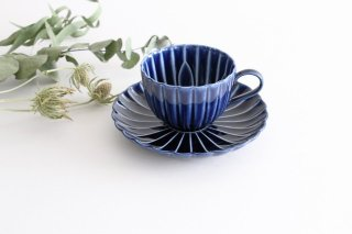 美濃焼 ぎやまんカップ&ソーサー 茄子紺(青) 磁器商品画像