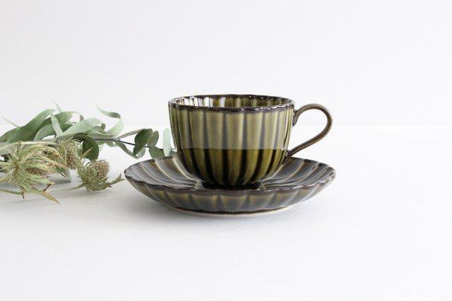 美濃焼 ぎやまんカップ&ソーサー 利休(緑) 磁器
