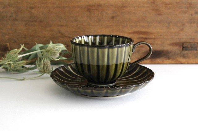 美濃焼 ぎやまんカップ&ソーサー 利休(緑) 磁器 画像2