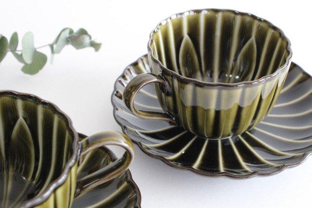 美濃焼 ぎやまんカップ&ソーサー 利休(緑) 磁器 画像3