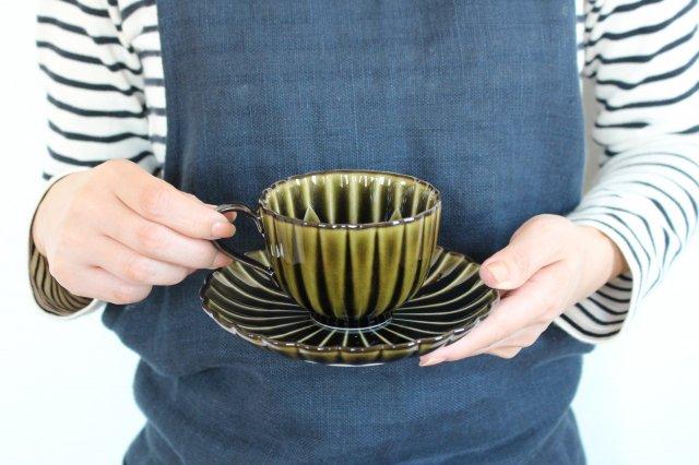 美濃焼 ぎやまんカップ&ソーサー 利休(緑) 磁器 画像4