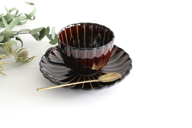 美濃焼 ぎやまんカップ&ソーサー 漆(茶) 磁器