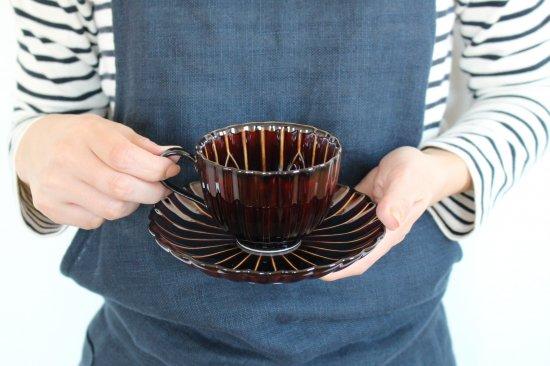 美濃焼 ぎやまんカップ&ソーサー 漆(茶) 磁器 画像2
