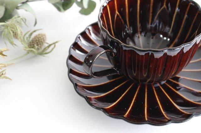 美濃焼 ぎやまんカップ&ソーサー 漆(茶) 磁器 画像3