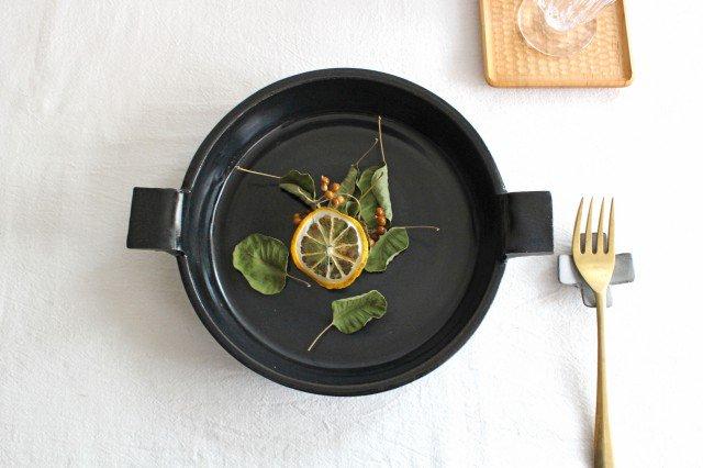 《耐熱陶器》萬古焼 オーブンプレート 黒