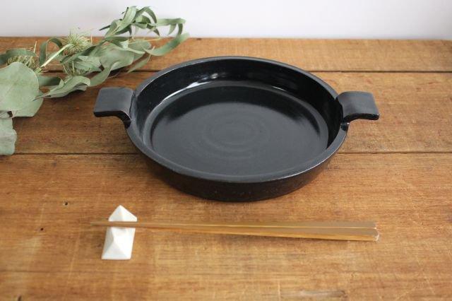 《耐熱陶器》萬古焼 オーブンプレート 黒  画像3