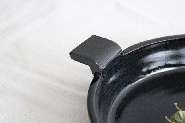 《耐熱陶器》萬古焼 オーブンプレート 黒  画像5