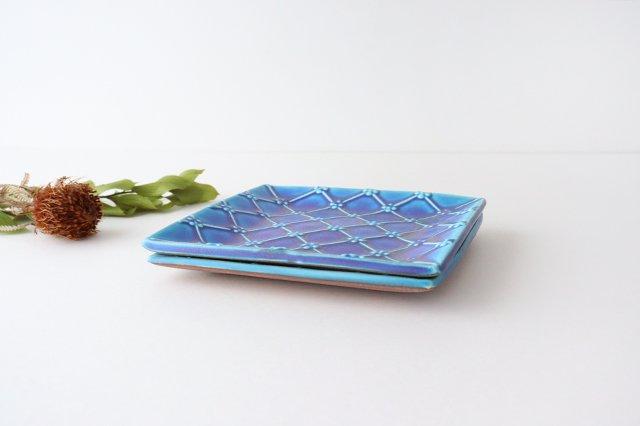 正角皿 ターコイズ 陶器 一翠窯 画像4