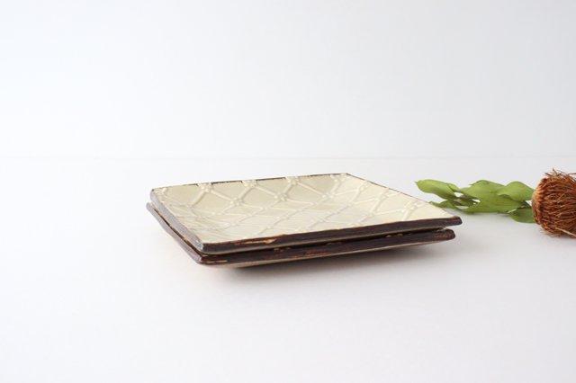 正角皿 ベージュ 陶器 一翠窯 画像3