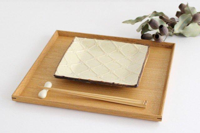 正角皿 ベージュ 陶器 一翠窯 画像5
