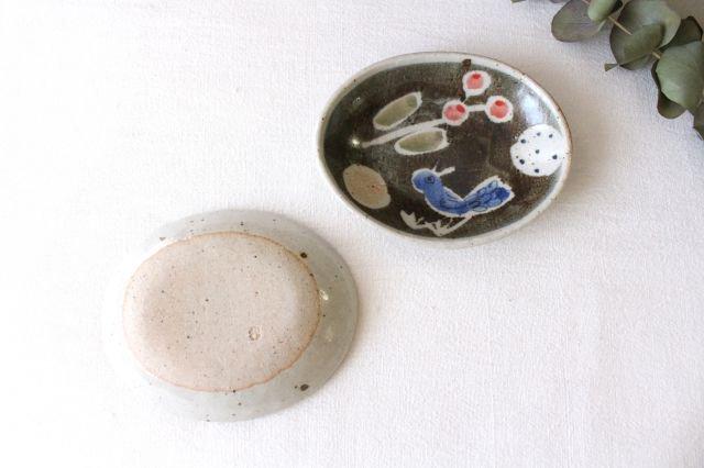楕円小皿 青い鳥 半磁器 森陶房 砥部焼 画像3