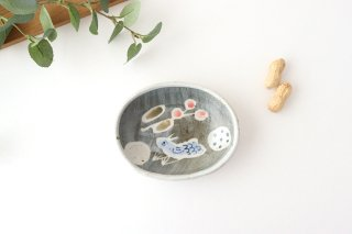 楕円小皿 青い鳥 半磁器 森陶房 砥部焼商品画像