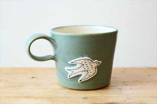 ツバメマグ グリーン 陶器 東峯未央商品画像