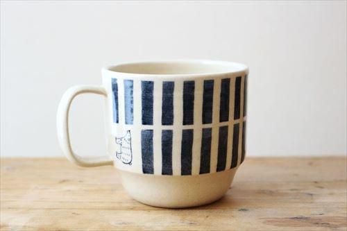 ブルーラインシロクママグ 陶器 東峯未央商品画像