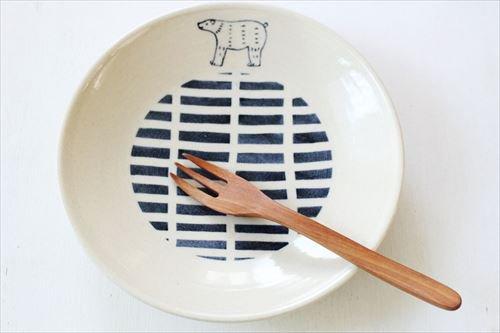 ブルーラインシロクマモーニングプレート 陶器 東峯未央 画像4