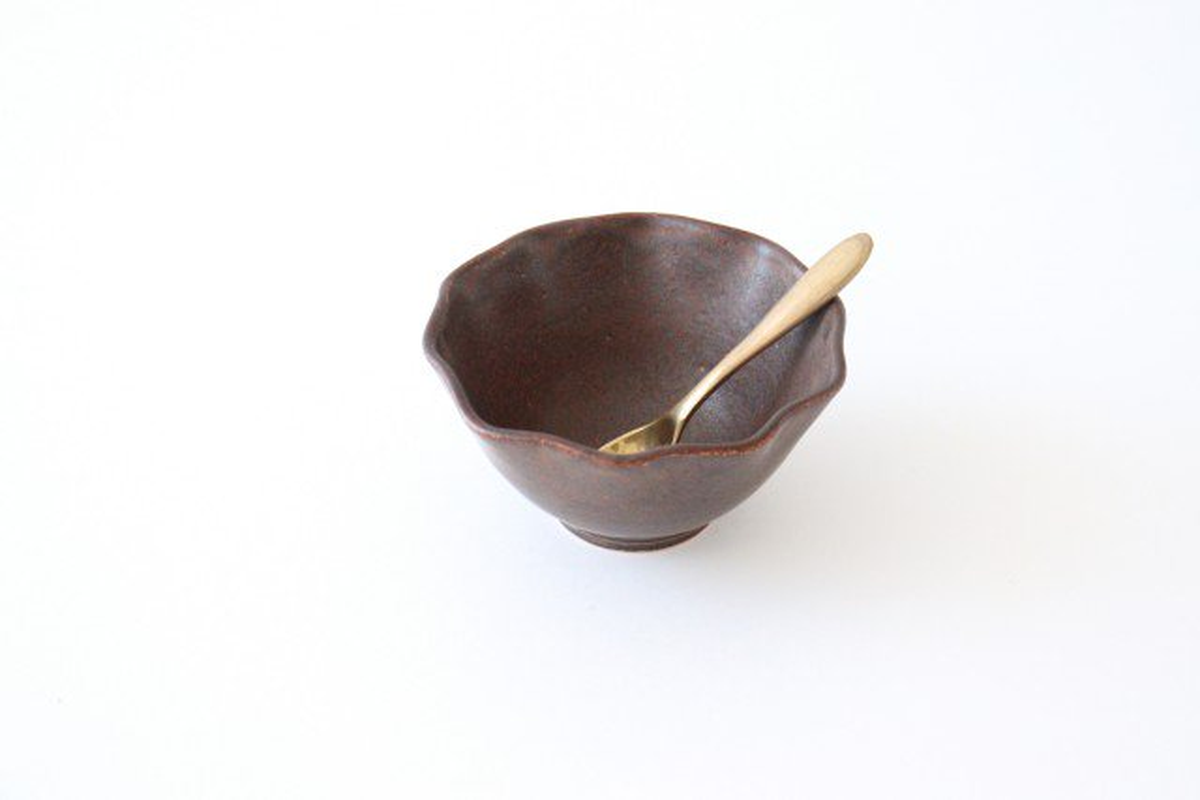 ブラウン波豆鉢 陶器 中野明彦