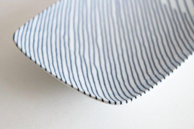 白山陶器 重ね縞 長焼皿 磁器 波佐見焼 画像5