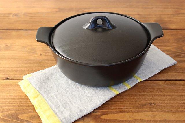 《耐熱陶器》アクアコッタ キャセロール8号 黒 4th-market 画像2