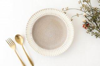 小石原焼 リム皿大 はけ目中黒マット 陶器 翁明窯元商品画像