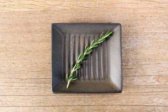 小石原焼 しのぎ角皿 黒マット 陶器 翁明窯元