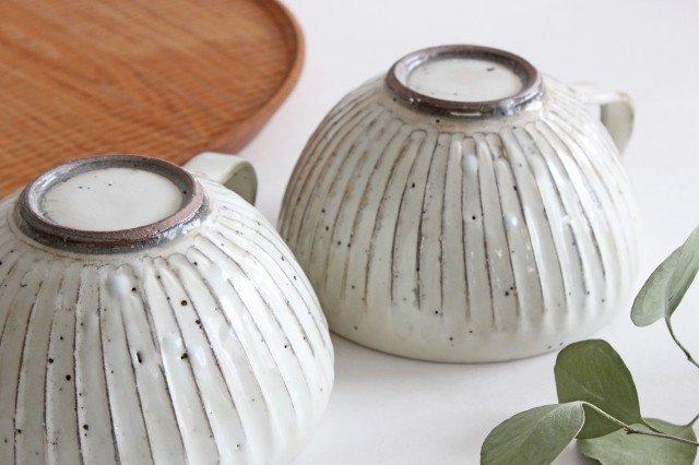 美濃焼 粉引削りスープカップ 陶器 画像5