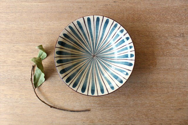 美濃焼 中平鉢 麦藁手(青)【A】 陶器
