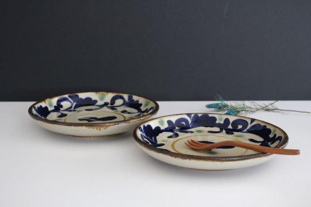 7寸皿 唐草 陶器 エドメ陶房 画像2
