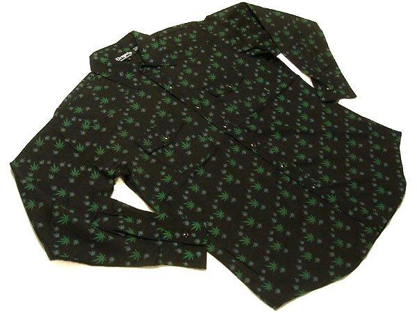 Dragonfly Marijuana Leaf Western Shirt - Cafe de Zion online shop カフェドザイオン・オンラインショップ