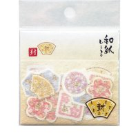 小さな花模様の 和紙の 封かんシール