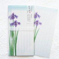 初夏の一筆箋 封筒付 「旬花」 花菖蒲