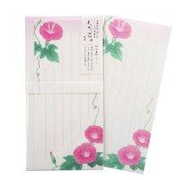 夏の季節の一筆箋 封筒付 「旬花」 朝顔