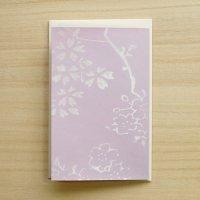 京からかみ 伝統文様のカード 「影日向枝桜」