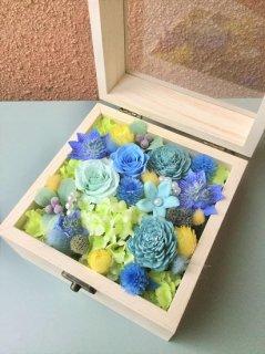 プリザーブドフラワー14木製BOXフラワー ブルー系