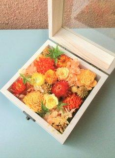 プリザーブドフラワー15木製BOXフラワー オレンジ系