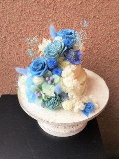 プリザーブドフラワー17ケーキアレンジメント ブルー系