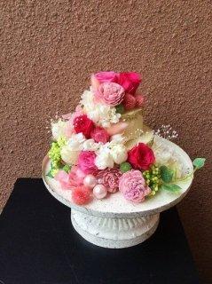 プリザーブドフラワー18ケーキアレンジメント ピンク系