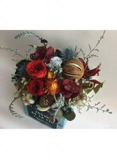 プリザーブドフラワー20木製花器アレンジメント 赤系