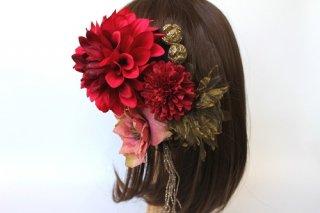髪飾りレッド(アーティシャルフラワー)