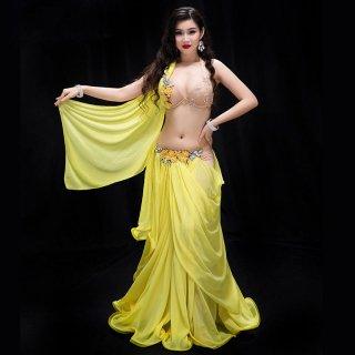 ベリーダンスオリエンタル衣装セット爽やかな黄色グッズ安いショップ 38