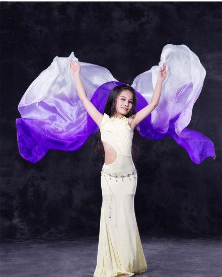 ベリーダンス▲キッズ子供用シルクベール100%白紫ステージグッズ激安ショップ 4
