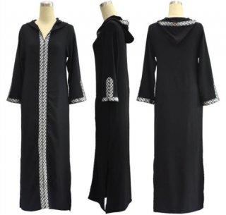 ムスリムアバヤ刺繍マキシドレスフード付きカーディガンロングローブガウン中東イスラム服 2