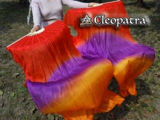 ベリーダンス■ファンベール道具シルク赤紫オレンジ扇子舞台安いグッズ激安 61