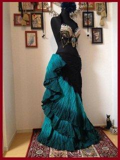 インド限定★ベリーダンス 25ヤード スカート ジプシー コスチューム 緑 衣装 トライバル 激安店 8