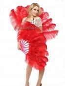 ベリーダンス赤単層ダチョウの羽扇子道具舞台フェザーファン安い通販 10