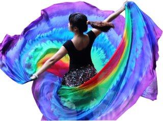 ベリーダンスやステージ道具シルクベール本物の絹の絞り染めレインボーグッズ 1