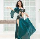 シルクサテンのベリーダンス衣装コスチュームワインレット緑グッズ激安ショップ 33