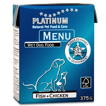 プラチナム MENU ウェットフード:フィッシュ+チキン(375g テトラパック)